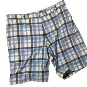 Nike Golf Dri Fit Blue Plaid Shorts Waist 40